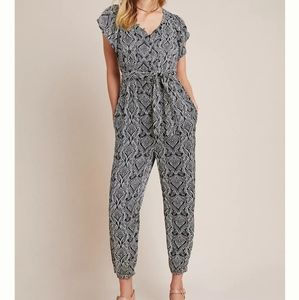 Anthropologie satin jumpsuit
